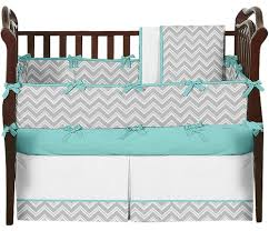 Zig Zag Crib Bedding Set Furniture Zigzag Gray Turquoise Grey Chevron Baby Bedding 14890