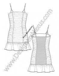016 illustrator fashion flat sketch ruched tube dress ruffle hem