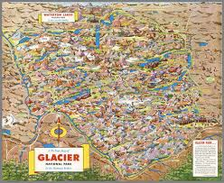 Montana Maps A Pic Tour Map Of Glacier National Park In The Montana Rockies 1953
