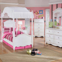 Grey White Pink Bedroom Furniture Black Metal Canopy Bed With White Pink Curtains And