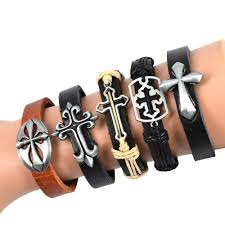 leather bracelet with cross images Fashion 5pcs hollow out mix cross genuine leather bracelet uptodeals jpg