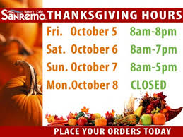 thanksgiving hours sanremo bakery