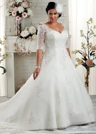 wedding dresses for curvy brides this v neck line wedding gown has sheer lace sleeves the end at