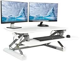 sit and stand desk platform amazon com vivo white deluxe height adjustable standing desk 35