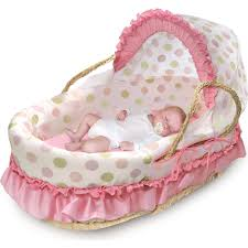 Dog Bed With Canopy Badger Basket Natural Moses Basket With Fabric Canopy Pink And