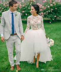 high low wedding dress with sleeves two pieces high low wedding dresses high neck illusion
