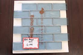 Recycled Glass Backsplash by Crossville Echo Recycled Glass Blue Angel 2x4 Clear Brick Backsplash