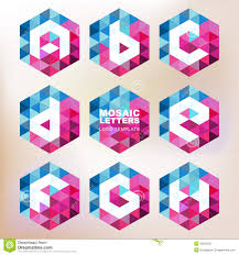 set of mosaic letter icons geometric logo design template corp