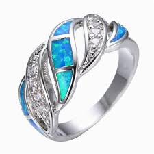 crystal opal rings images Blue sapphire crystal fire opal ring 14kt white gold filled 925 jpg
