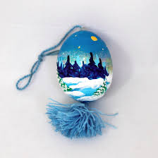 painted chicken egg ornament winter landscape