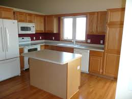 Maple Cabinet Kitchen Ideas Small Maple Wood Island Using Rectangle Cream Marble Countertop
