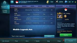 join or create squad rules mobile legends