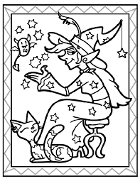 sitting witch coloring printables children