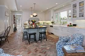 brick floor tile kitchen with apron sink black bar