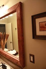 Wood Framed Mirrors For Bathroom by Diy Barn Wood Framed Mirror I U0027d Love To Re Trim And Re Frame