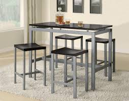 High Bar Table Set Contemporary Kitchen Dinette Desgn With 5 Pieces Black Grey Bri
