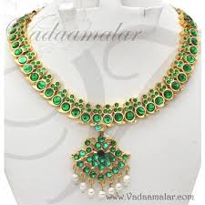 necklace with green stone images Green stone necklace indian imitaiton temple jewellery bharatanatyam jpg
