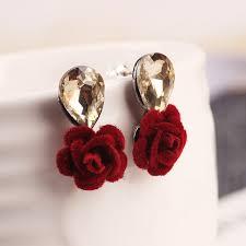 artificial earrings trendy velvet flower stud earrings for women accessories