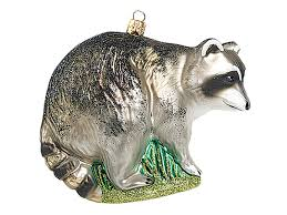 raccoon wildlife blown glass ornament
