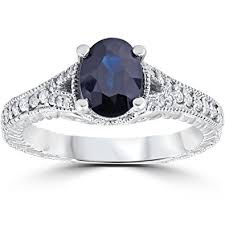 oval sapphire engagement rings 2ct vintage black sapphire engagement ring 14k white gold