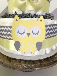owl diaper cake in yellow and gray owl baby shower centerpiece