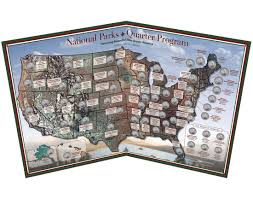 United States National Parks Map by National Parks 56 Quarter Map Coins
