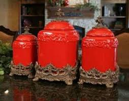 tuscan kitchen canisters sets tuscan old world drake design large red kitchen canisters set of 3