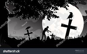 halloween zombie background silhouette zombie walking on graveyard night stock vector