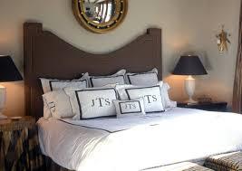black and white monogrammed bedding transitional bedroom