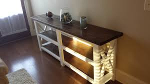 rustic x console table ana white rustic x console table the beginning diy projects