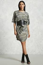 belted camo t shirt dress forever21