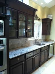 Espresso Cabinets Kitchen Galley Kitchen Not So Much Molding In The Small Space But Dark