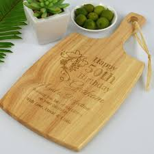 engraved cheese board birthday gift engraved cheese paddle 50th birthday custom