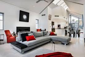 gray living room furniture floor lamp purple sofa nice fireplace