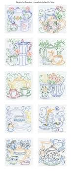 Machine Embroidery Designs For Kitchen Towels Line Tea Pots Embroidery Machine Design Details The