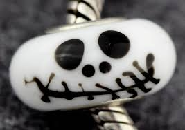 jack skull halloween sterling silver core charm bead lampwork