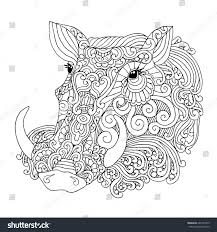 halo warthog drawing common warthog boar pig head isolated stock vector 681597439