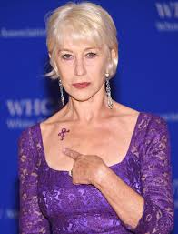 helen mirren honors prince with a purple gown and matching tattoo