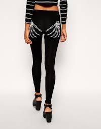 skeleton hand halloween asos halloween legging in glow in dark skeleton hands in black lyst