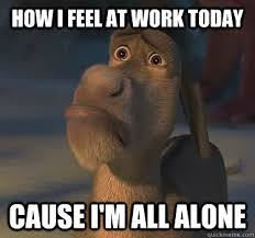 All Alone Meme - how i feel at work today cause i m all alone donkey alone work