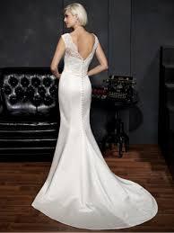 mermaid straps sleeveless court train lace and satin wedding