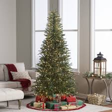 fanciful pencil tree prelit 9 foot artificial 7 ft flocked