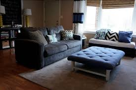 traditional living room design idea featured large blue