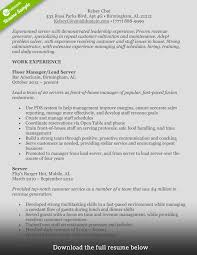 Food And Beverage Supervisor Resume Experienced Server Resume Free Resume Example And Writing Download