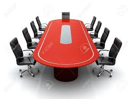 Conference Room Chairs Leather 3d Render Of Red Conference Table With Black Leather Chairs On
