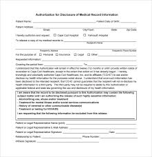 medical records request form notice of privacy hipaa consent form