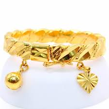 bangle charm bracelet gold images Gold color bell heart charm bracelet children boys girls baby kids jpg