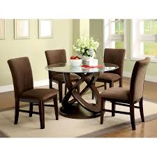 furniture round glass dining table with wooden base cottage home