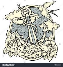 sailor tattooart design new traditional tattoo stock vector