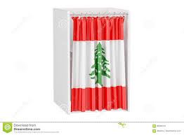 Libanese Flag Vote In Lebanon Concept Voting Booth With Lebanese Flag 3d Ren